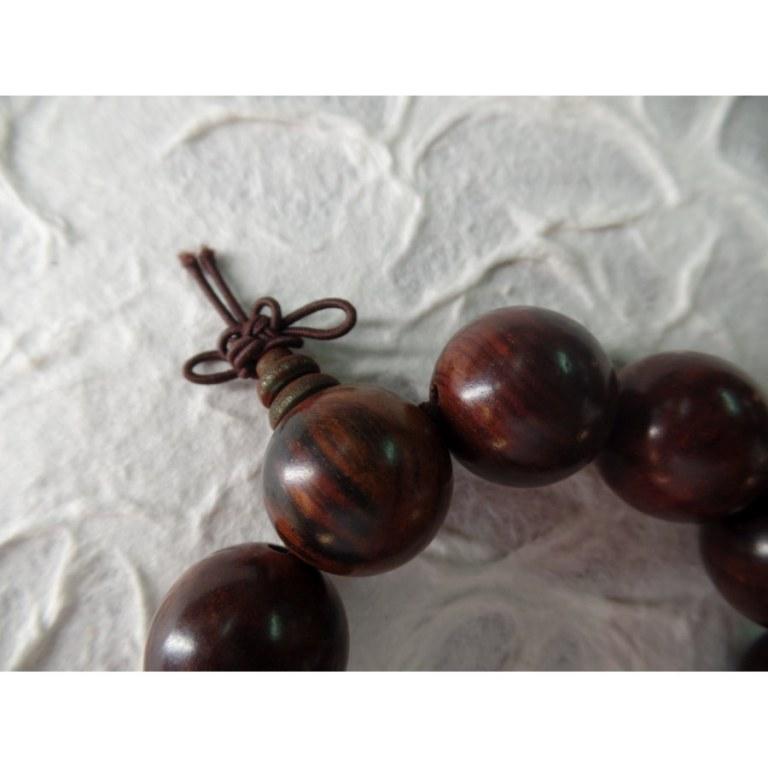 Bracelet tibétain marron perles en bois