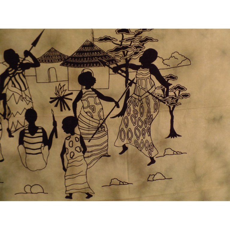 Tenture verte scène de vie africaine