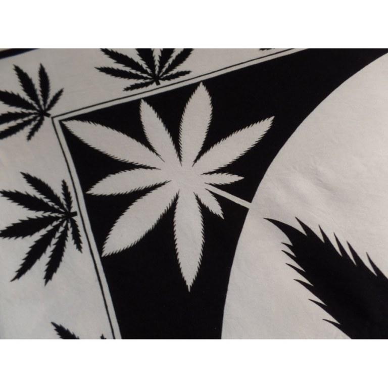 Tenture maxi noir et écru rasta feuilles