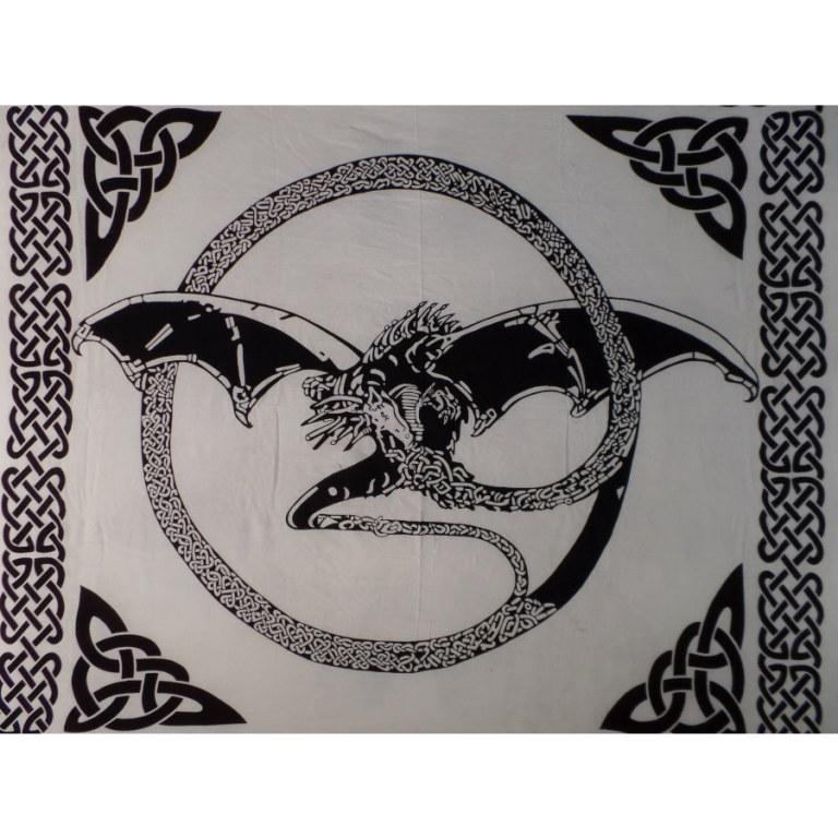 Maxi tenture écru/noir dragon volant