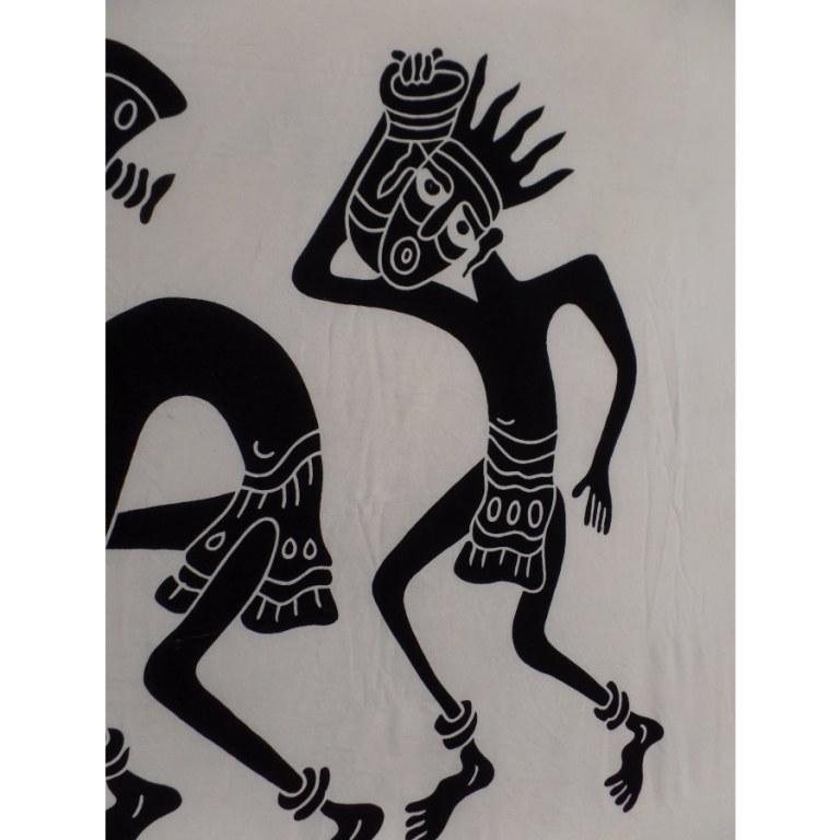 Grande tenture noir/écru danse tribale