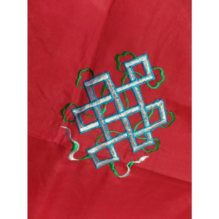 Portière tibétaine symboles porte bonheur rouge/or
