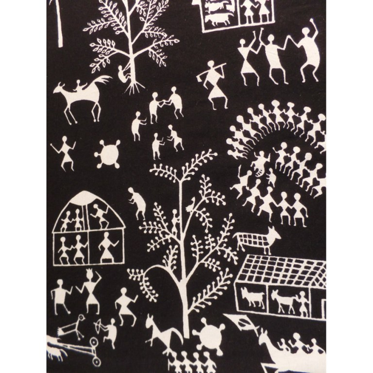Tenture maxi village africain noir/blanc