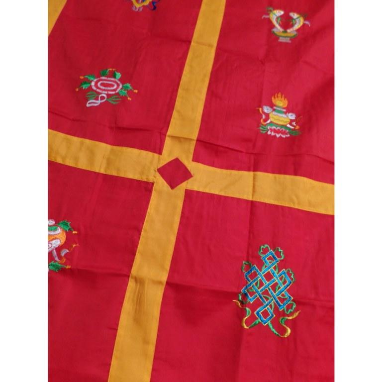 Portière tibétaine rouge/or signes auspicieux