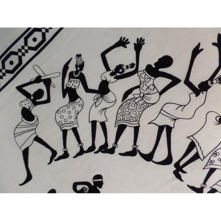 Grande tenture noir/écru danse africaine