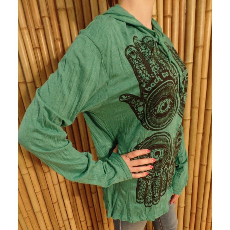 T shirt manches longues vert 4 khamsa