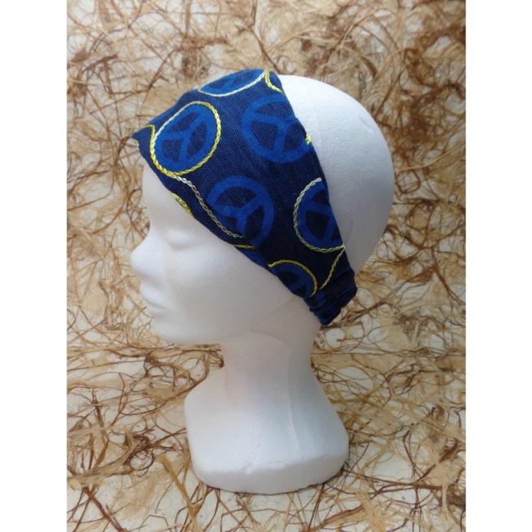 Bandeau cheveux bleu foncé peace and love