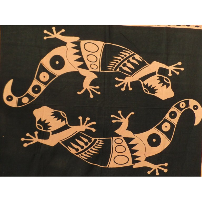 Tenture orange noir abstract gécko