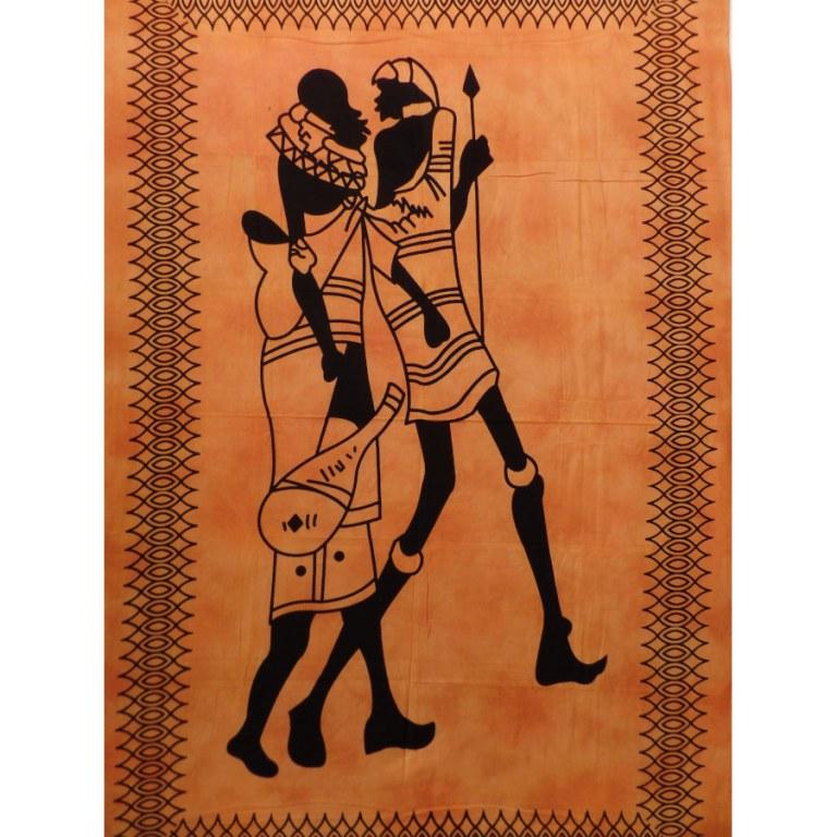 Tenture orange balade africaine