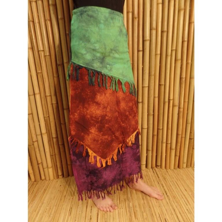 Jupe longue Maya Bay vert/rouille/prune