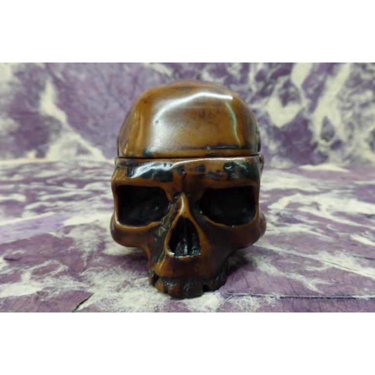 Cendrier 1/2 crâne amovible marron veiné