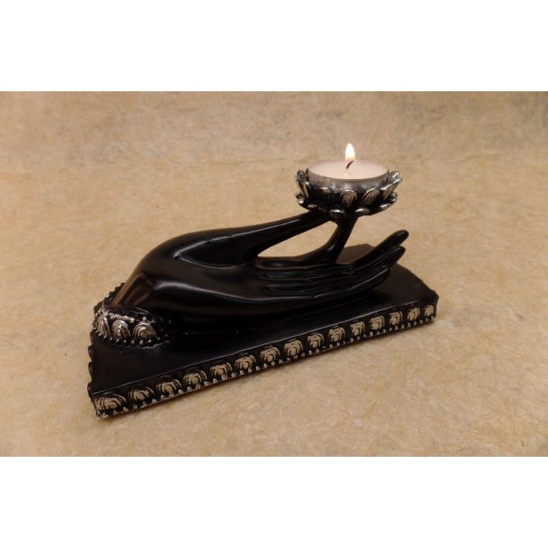 Porte encens noir et argent main de Bouddha