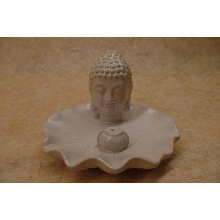 Porte encens blanc tête de Bouddha