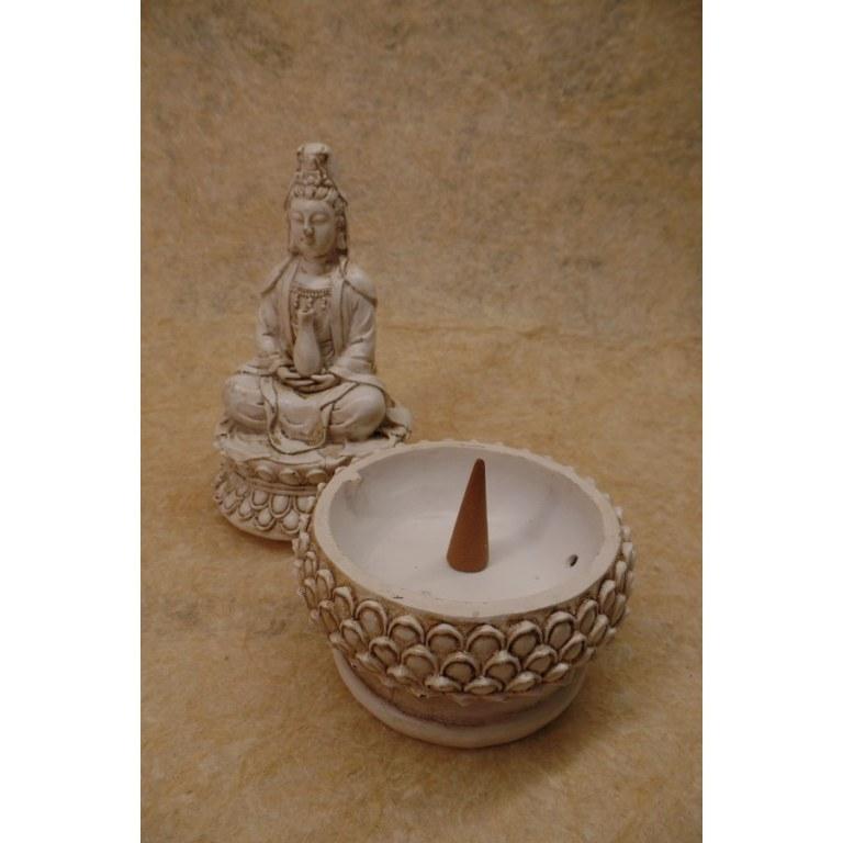 Porte encens blanc Bouddha sur son trône