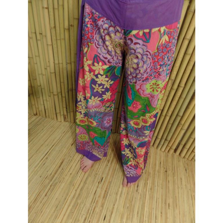Pantalon violet flower power