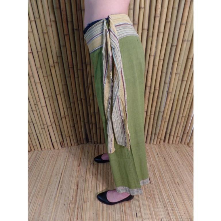 Pantalon Kaski vert ceinture claire