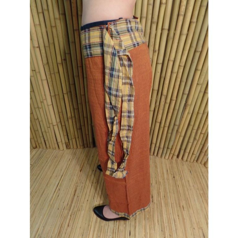 Pantalon Kaski rouille ceinture écossaise