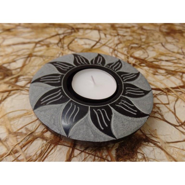 Porte encens fleur noir/gris