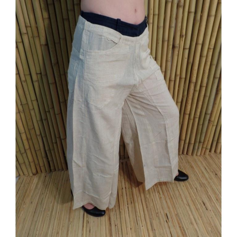 Pantalon taille basse écru