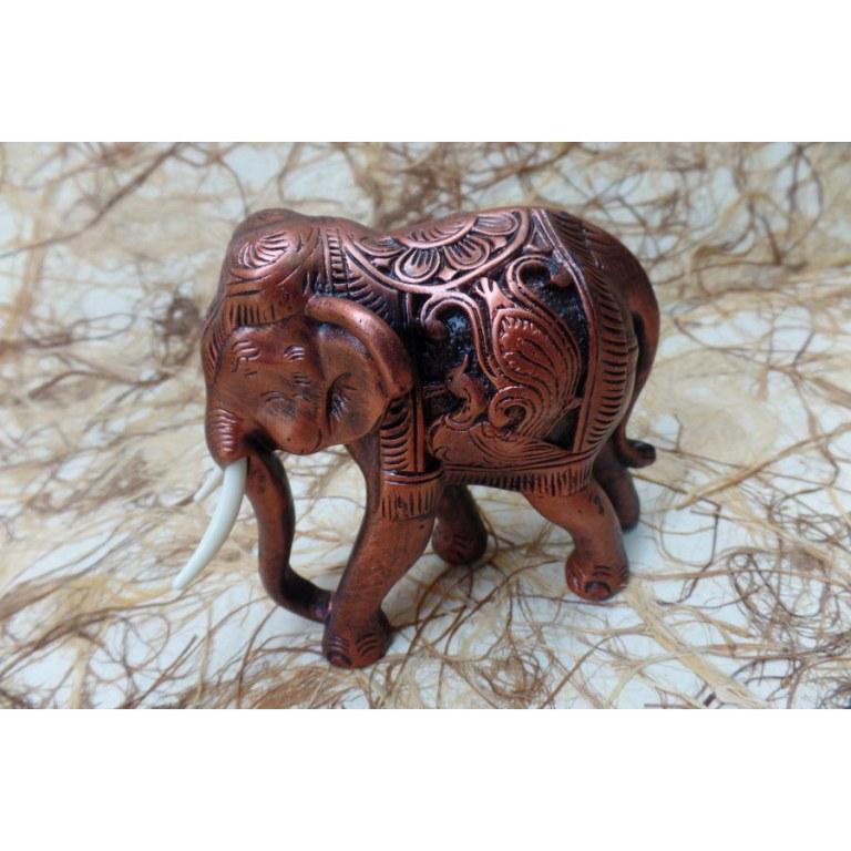 Eléphant Baan Chang trompe en bas cuivré