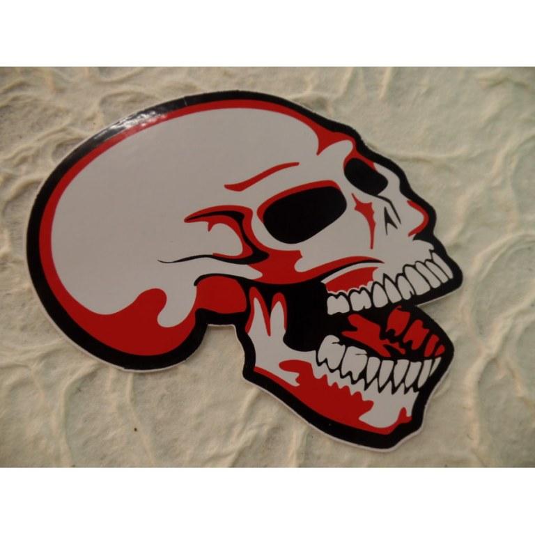 Autocollant rouge tête de mort rieuse