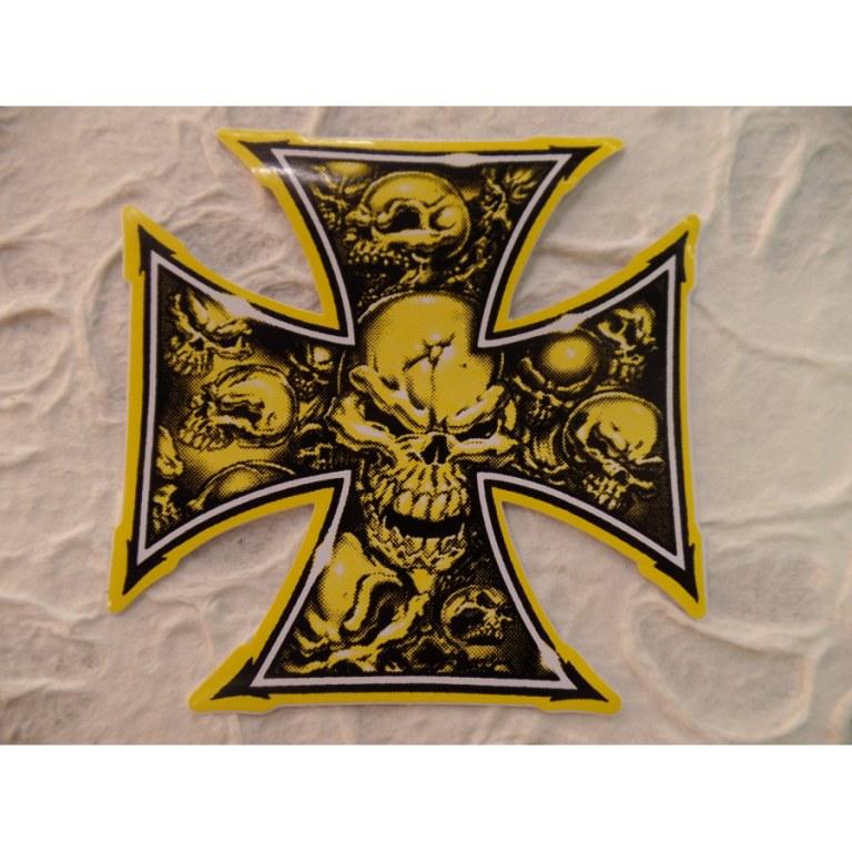 Autocollant tête de mort croix maltaise