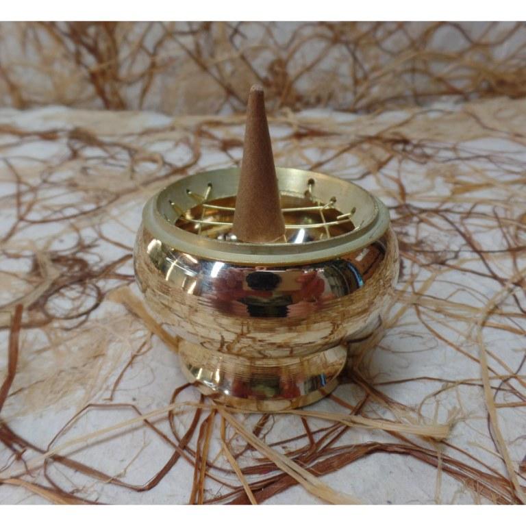 Brûle encens rond laiton doré