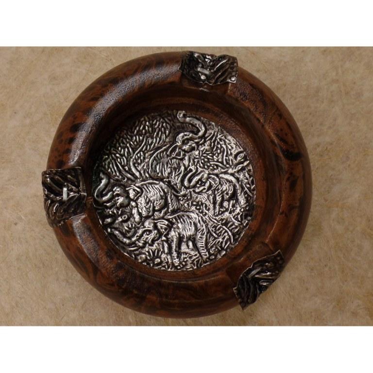 Cendrier rond bois marron patiné éléphant