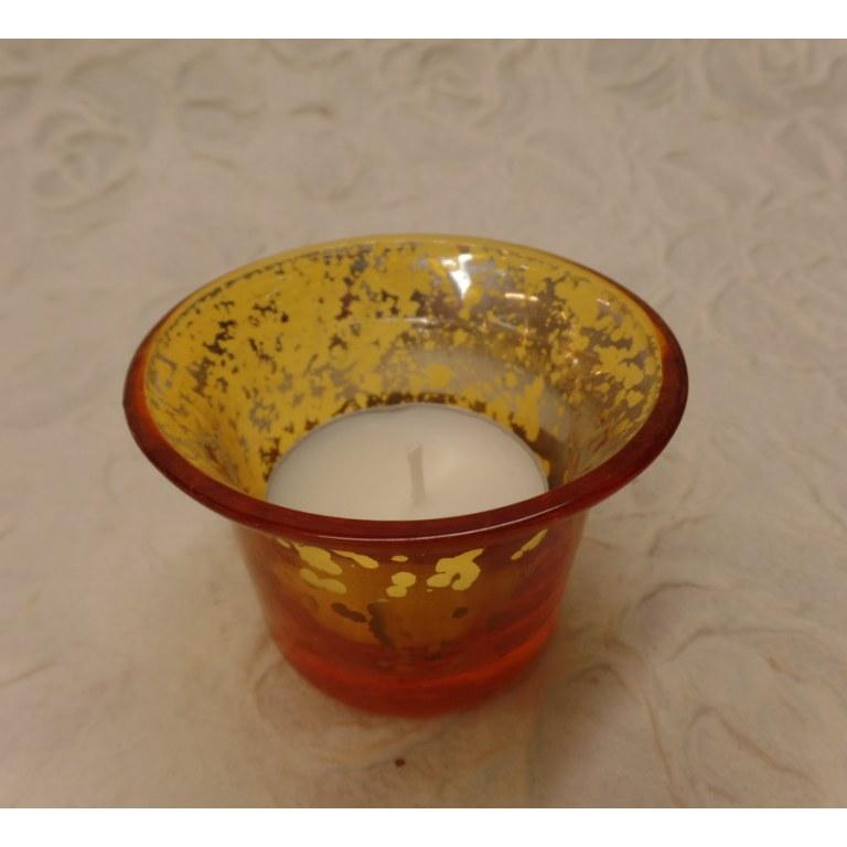 Photophore verre jaune moucheté