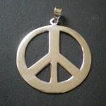 Pendentif argent peace and love grand modèle