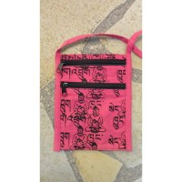 Sac passeport sanscrit Bouddha fluo rose