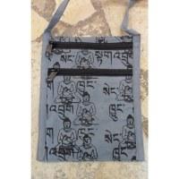 Sac passeport  sanscrit Bouddha gris