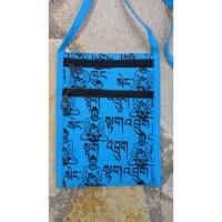 Sac passeport  sanscrit Bouddha bleu