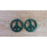 Boucles d'oreilles rondes peace & love vert