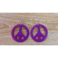 Boucles d'oreilles rondes peace & love mauve