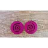 Boucles d'oreilles rondes spirale rose