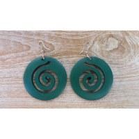 Boucles d'oreilles rondes spirale verte