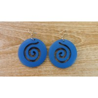Boucles d'oreilles rondes spirale bleue