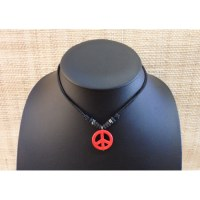 Collier peace & love rouge