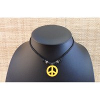 Collier peace & love jaune
