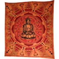 Grande tenture Bouddha lotus orange