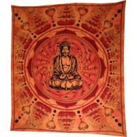 Grande tenture Bouddha lotus orange