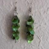 Pendants d'oreilles pétales verts