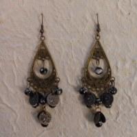 Boucles d'oreilles Marianne noires et blanches