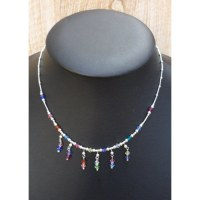 Collier perles 6 pendants