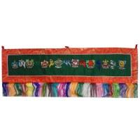 Bannière tibétaine  verte mantra et ashtamangala