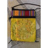 Sac passeport Mandala jaune or