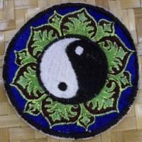 Patch yin yang lotus bleu