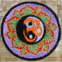 Patch yin yang om lotus parme