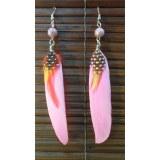 Boucles d'oreilles bird feather rose